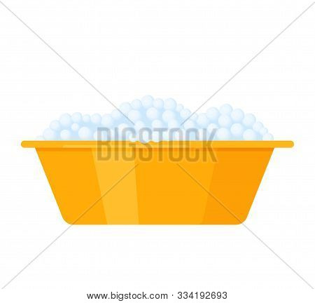 Basin With Foam. Vector. Plastic Washbowl With Soapy Bubbles And Froth. Color Icon In Flat Design, I