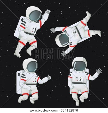 Set Of Astronauts Floating In Space In Different Poses. Waving, Giving Thumbs Up, Raising Fist And F