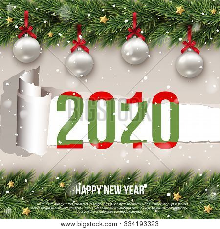 Happy 2020 New Year Merry Christmas Greeting Flat Creative Poster With Decorated Ornament Balls And