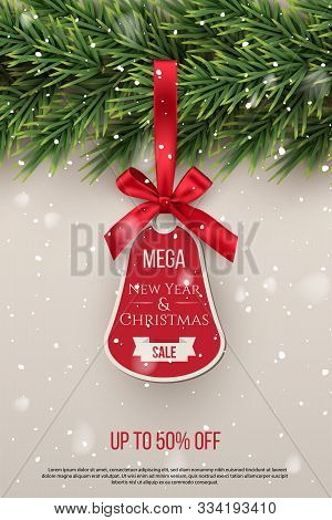 Mega New Year And Christmas Sale Vector Tag Template. Xmas Discount Advertising Campaign. New Year T