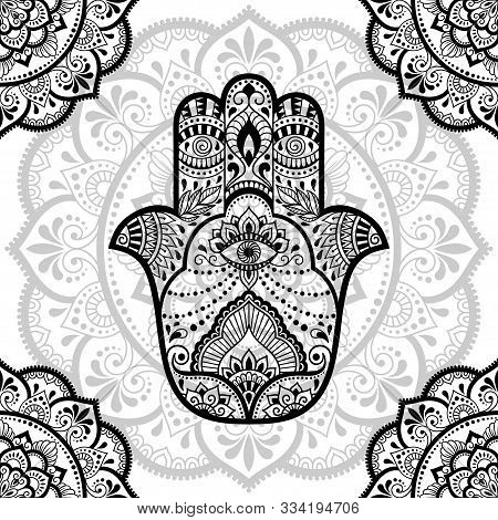 Seamless Decorative Ornament In Ethnic Oriental Style. Circular Pattern In Form Of Mandala With Hams