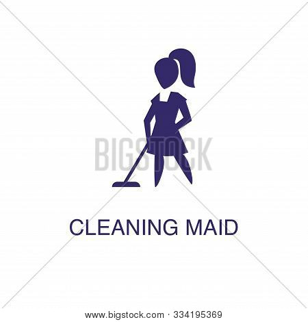Cleaning Maid Element In Flat Simple Style On White Background. Cleaning Maid Icon, With Text Name C