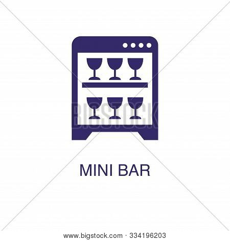 Mini Bar Element In Flat Simple Style On White Background. Mini Bar Icon, With Text Name Concept Tem