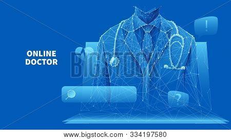 Healthcare Services. Online Medical Consultation. A Doctor In A White Lab Coat With A Stethoscope On
