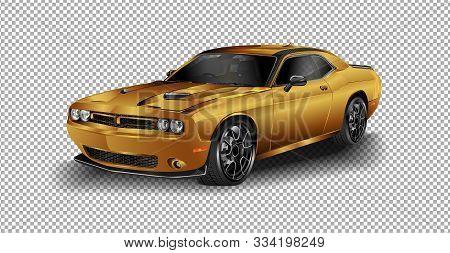 Scottsdale, Az - September 5, 2015: Gray 2015 Dodge Challenger Srt Vector Illustration On Transparen