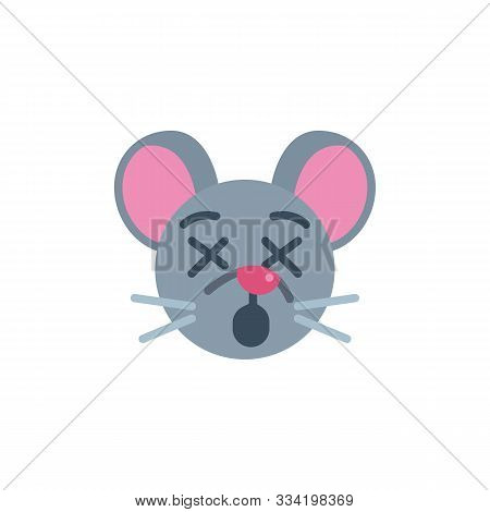 Dormant Mouse Face Emoji Flat Icon, Vector Sign, Sleeping Rat Emoticon Colorful Pictogram Isolated O
