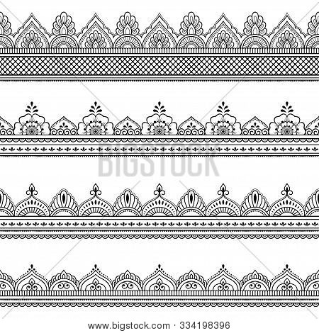 Set Of Seamless Border Ornament For Design, Henna Drawing, Mehndi And Tattoo. Decorative Pattern In