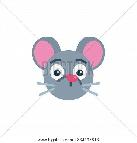 Silent Mouse Face Emoji Flat Icon, Vector Sign, Silent Rat Emoticon Colorful Pictogram Isolated On W