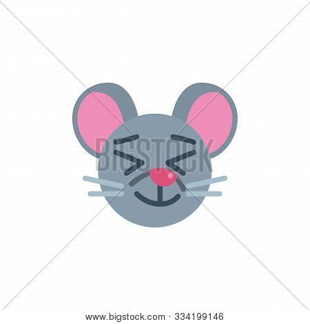 Happy Mouse Face Emoji Flat Icon, Vector Sign, Satisfied Rat Emoticon Colorful Pictogram Isolated On