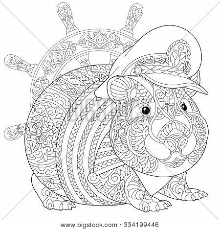 Coloring Page. Coloring Book. Colouring Picture With Hamster Or Guinea Pig As A Navy Captain. Line A