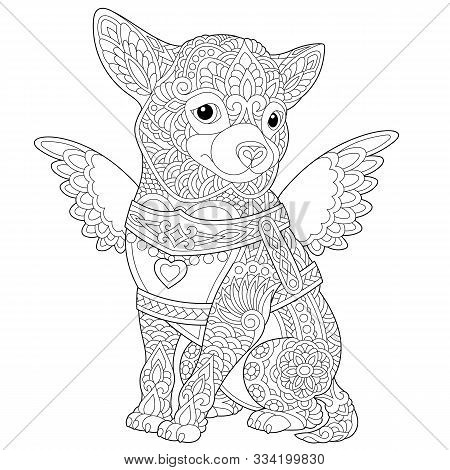 Coloring Page. Coloring Book. Colouring Picture With Lovely Chihuahua Dog. Line Art Sketch Design Wi