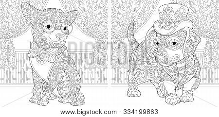 Coloring Page. Coloring Book. Colouring Pictures Set With Chihuahua And Dachshund Dog In Steampunk S