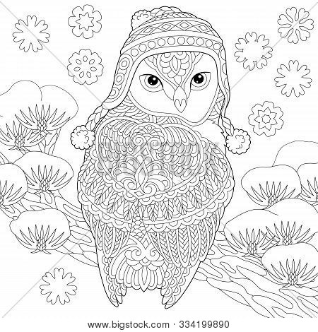Coloring Page. Coloring Book. Colouring Picture With Winter Owl. Line Art Sketch Design With Doodle