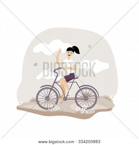 Young Girl Rides A Bicycle. Vector Illustration. Eps 10