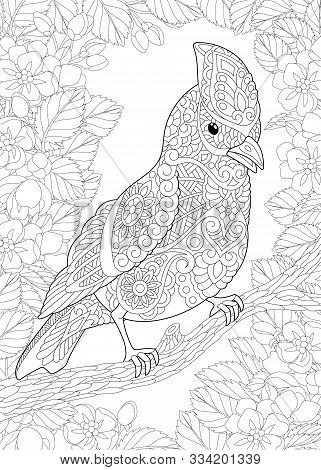 Coloring Page. Coloring Book. Colouring Picture With Bird In Floral Garden. Line Art Sketch Design W