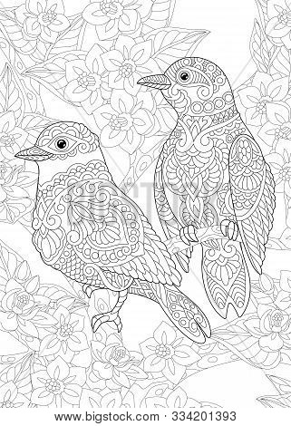 Coloring Page. Coloring Book. Colouring Picture With Two Birds Among Flowers. Line Art Sketch Design