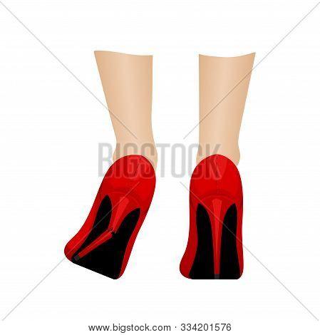 The Girl In The Red Slippers Broke Her Heel. Shoe Repair. Vector Illustration.