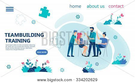 Teambuilding Training Banner Concept Vector Illustration. Office Managers Confer At The Table Discus