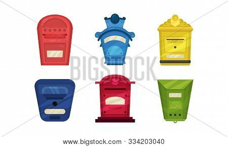 Set Of Colorful Letterboxes. Vector Illustration On A White Background.
