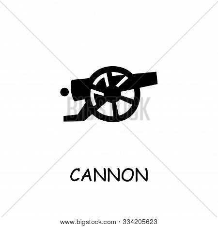 Cannon Flat Vector Icon. Hand Drawn Style Design Illustrations.