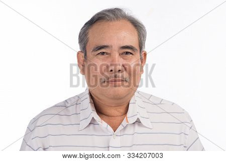 Portrait Of A Happy Asian Senior Man Smiling Isolated On White