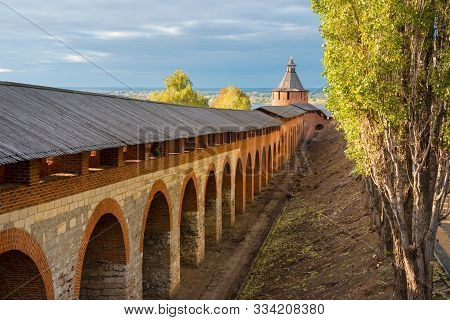 Nizhny Novgorod, Russia - September 28, 2019: Ancient Brick Walls And Towers Of The Nizhny Novgorod