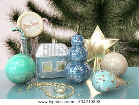 3d Illustration Of Merry Christmas Card With Christmas Tree Toys Snowman Candy Ice Cream Close Up St