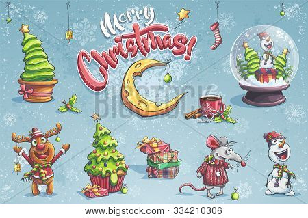 Vector Set Merry Christmas Illustration With Christmas Deer, Snowman, Tree, Moon, Mouse, Cup, Coffee