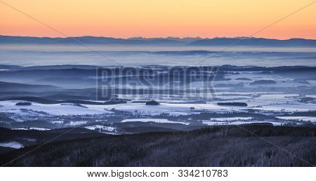 Sunrise In Snow Covered Jeseniky Mountains In Czechia During Nice Winter With Fog And Clear Sky. Wie