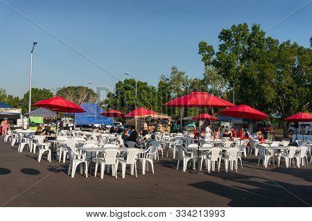 Darwin, Australia - June 1, 2019: Malak Marketplace In Darwin. Malak Is Popular Farmers Food Market