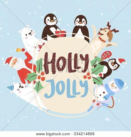 Holly Jolly Cartoon Animals And Christmas Vector Illustration. Santa Claus, Penguins, Dog With Horns