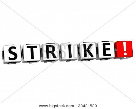 3D Strike Button Click Here Block Text