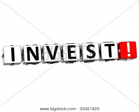 3D Word Invest Block Text