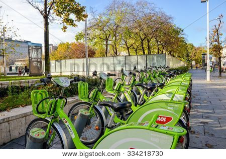 Budapest, Hungary - Nov 6, 2019: Public Green Bikes For Rental In The Center Of The Hungarian Capita