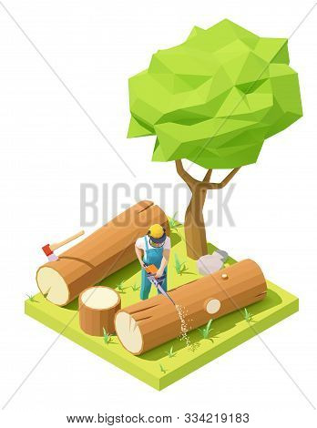 Vector Isometric Lumberjack In Protective Gear And Mask Working In Forest. Logging Worker Or Logger