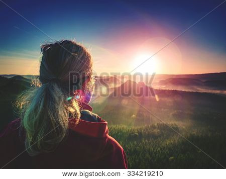 Beautiful Blond Hair Woman Looking Outside. Woman Head Posing At The Sunset, Portrait Of The Young P