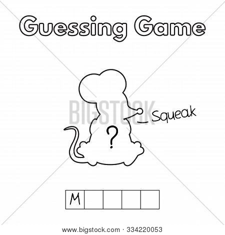 Cartoon Mouse Guessing Game. Vector Illustration For Children Education
