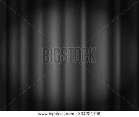 Black Curtain Vector Background. Dark Velvet Drape. Drapery. Theater, Opera, Concert Or Cinema. Curt