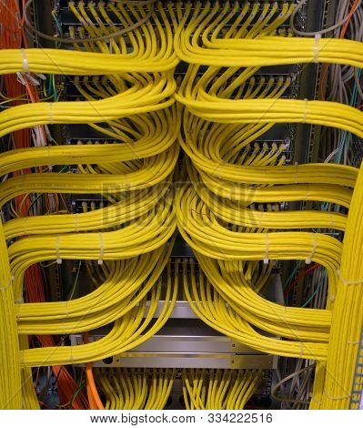 Network Switch Connections For Network Cable Rj45 And Cable Fiber Optic Cable