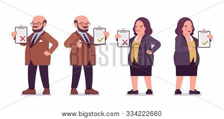 Chubby Heavy Man, Curvy Woman With Belly Approve, Disapprove. Overweight, Fat Body Shape, Round Kind