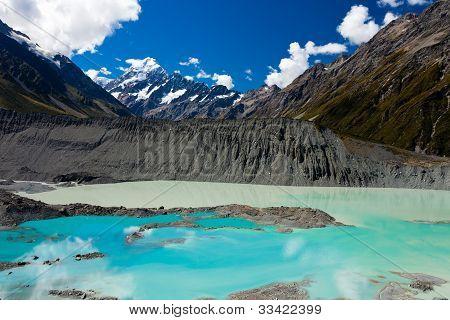 Emerald glacier lake in Aoraki Mt Cook NP