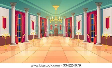 Ballroom Hall, Medieval Palace Room, Royal Castle Interior, Vector Background. King Ballroom With Lu