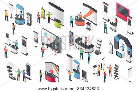 Expo Center, Product Display Stands, Visitors And Consultants People, Vector Isometric Icons. Exhibi