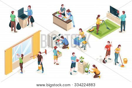 Home Cleaning, Vector Isolated Icons Of Man And Woman Couple Clean House Together. Laundry And Dish