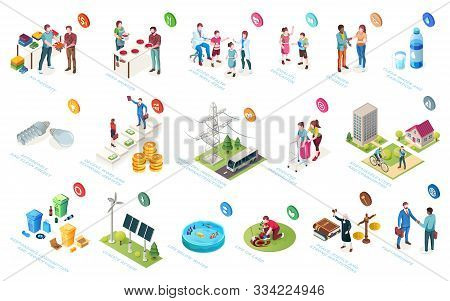 Sustainable Development, Economy And Society Sustainability, Social Responsibility, Vector Isometric
