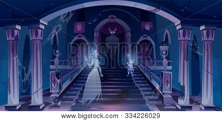 Old Castle With Ghosts Flying In Dark Scary Room With Staircase. Abandoned Palace Hall Entrance Inte