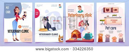 Veterinary Clinic Banners Set. Vet Service, Cats And Dogs Care, Spa Procedures For Pets In Therapeut