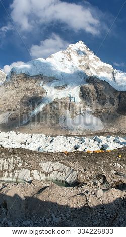 Himalaya, Panoramic View Of Himalayas Mountains, Mount Everest Base Camp With Beautiful Sky And Khum
