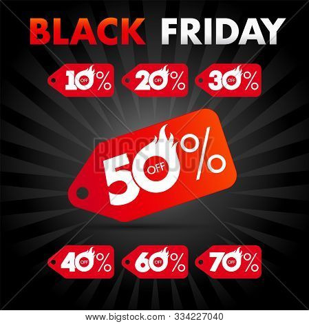 Black Friday Sale Banner With 50% Off Discount Red Label, Deal Sticker Design. 10%, 20%, 30%, 40%, 6