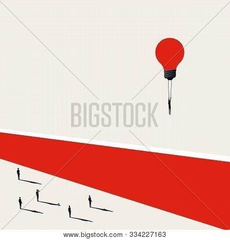 Business Challenge Overcoming Vector Concept With Businessman Flying Over Wall. Symbol Of Creative S